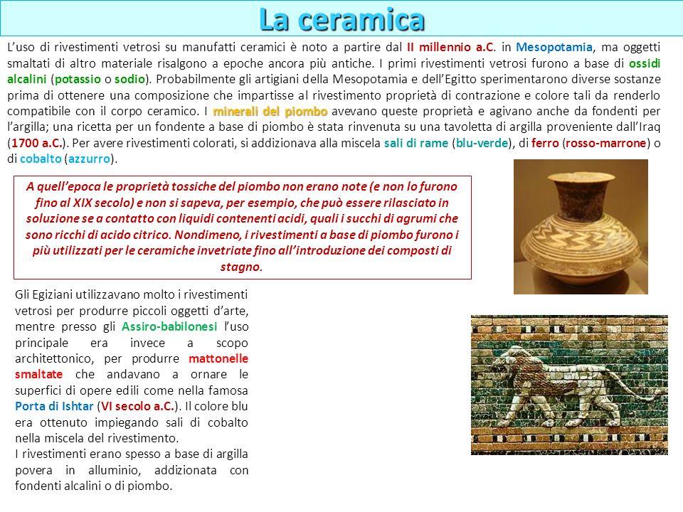La ceramica minerali del piombo Luso di rivestimenti vetrosi su manufatti ceramici è noto a partire dal II millennio a.C. in Mesopotamia, ma oggetti s