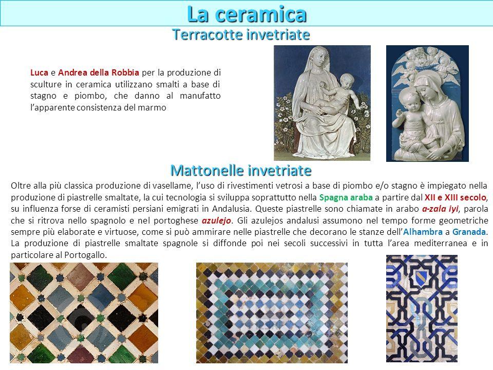 Luca e Andrea della Robbia per la produzione di sculture in ceramica utilizzano smalti a base di stagno e piombo, che danno al manufatto lapparente co