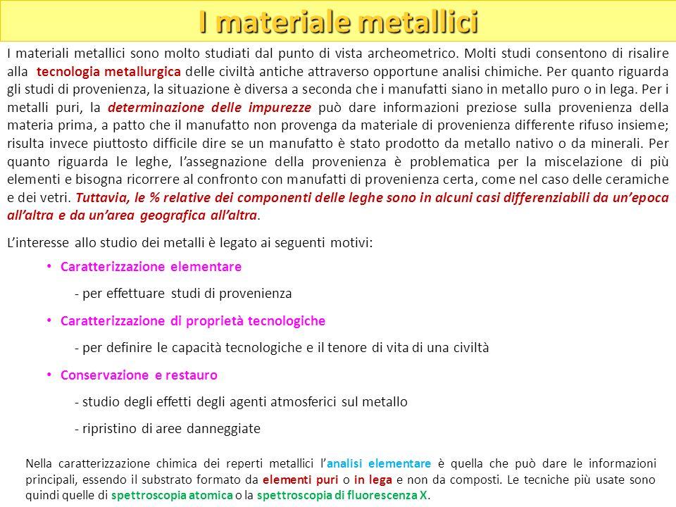 I materiali metallici sono molto studiati dal punto di vista archeometrico. Molti studi consentono di risalire alla tecnologia metallurgica delle civi