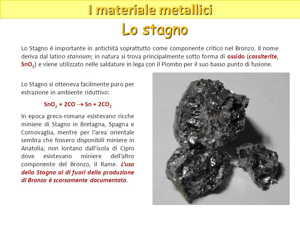 Lo Stagno si otteneva facilmente puro per estrazione in ambiente riduttivo: SnO 2 + 2CO Sn + 2CO 2 In epoca greco-romana esistevano ricche miniere di
