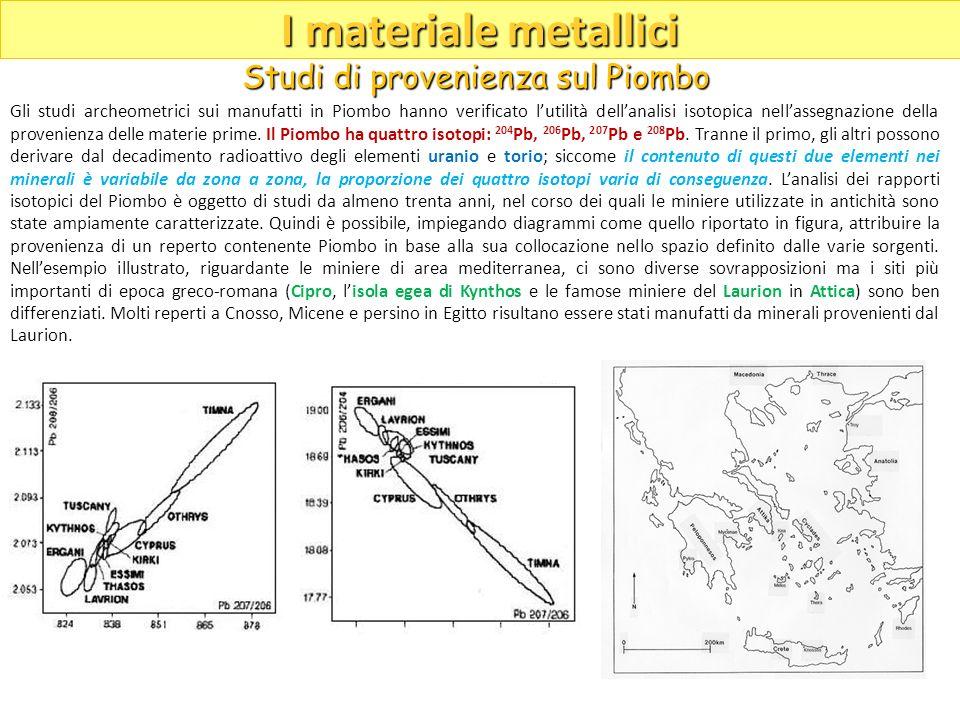 Gli studi archeometrici sui manufatti in Piombo hanno verificato lutilità dellanalisi isotopica nellassegnazione della provenienza delle materie prime