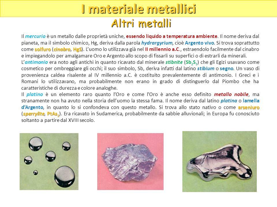 solfurocinabroHgS Il mercurio è un metallo dalle proprietà uniche, essendo liquido a temperatura ambiente. Il nome deriva dal pianeta, ma il simbolo c