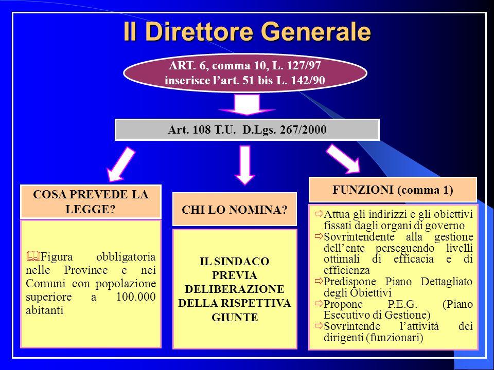 Il Direttore Generale ART. 6, comma 10, L. 127/97 inserisce lart. 51 bis L. 142/90 Art. 108 T.U. D.Lgs. 267/2000 COSA PREVEDE LA LEGGE? CHI LO NOMINA?