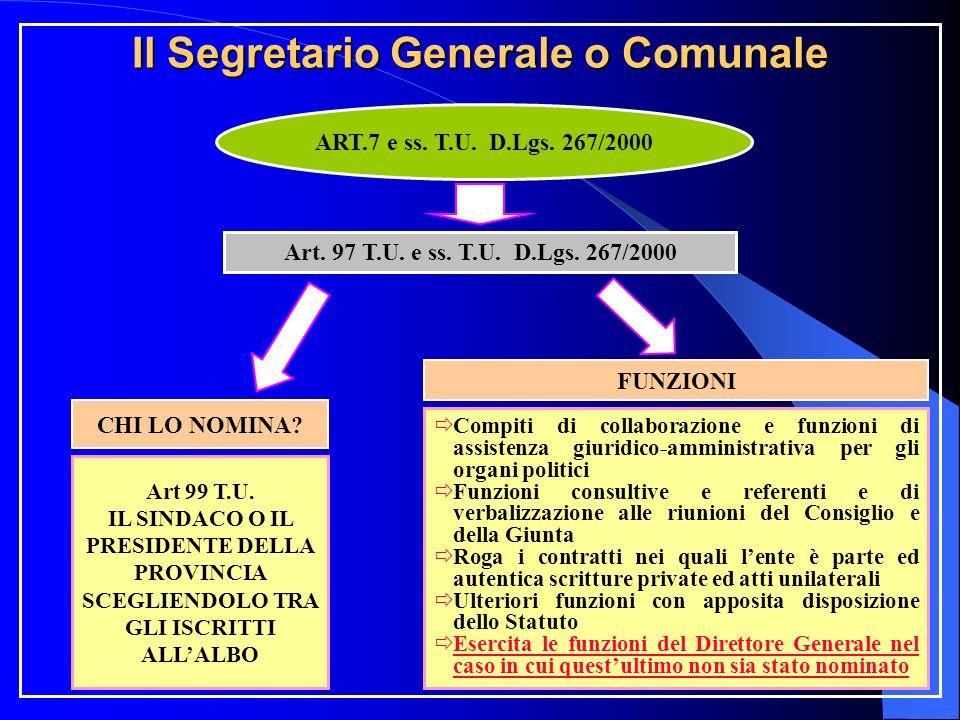 Il Segretario Generale o Comunale ART.7 e ss. T.U.