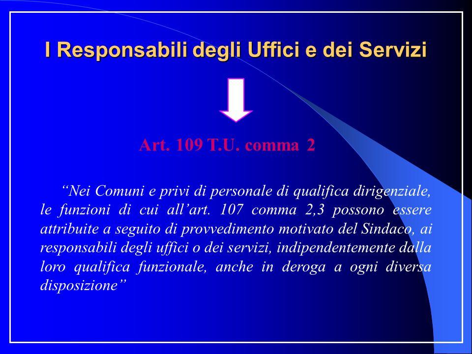 I Responsabili degli Uffici e dei Servizi Art. 109 T.U. comma 2 Nei Comuni e privi di personale di qualifica dirigenziale, le funzioni di cui allart.