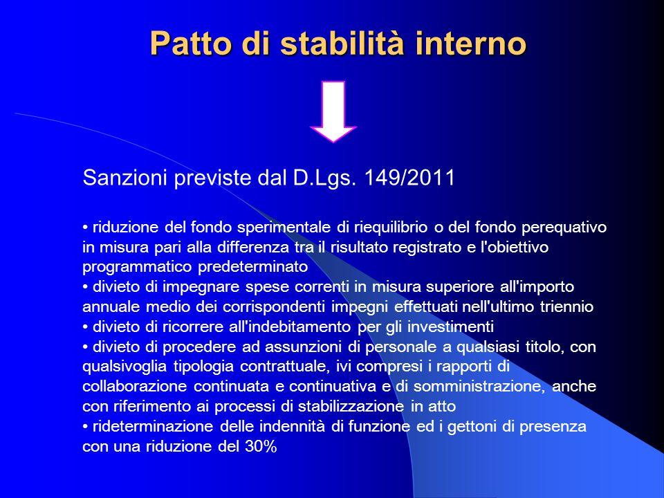 Patto di stabilità interno Sanzioni previste dal D.Lgs. 149/2011 riduzione del fondo sperimentale di riequilibrio o del fondo perequativo in misura pa