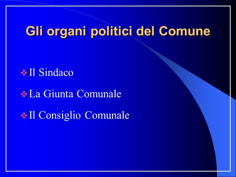 Gli organi politici del Comune Il Sindaco La Giunta Comunale Il Consiglio Comunale