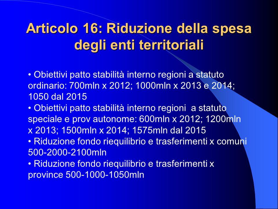 Articolo 16: Riduzione della spesa degli enti territoriali Obiettivi patto stabilità interno regioni a statuto ordinario: 700mln x 2012; 1000mln x 201