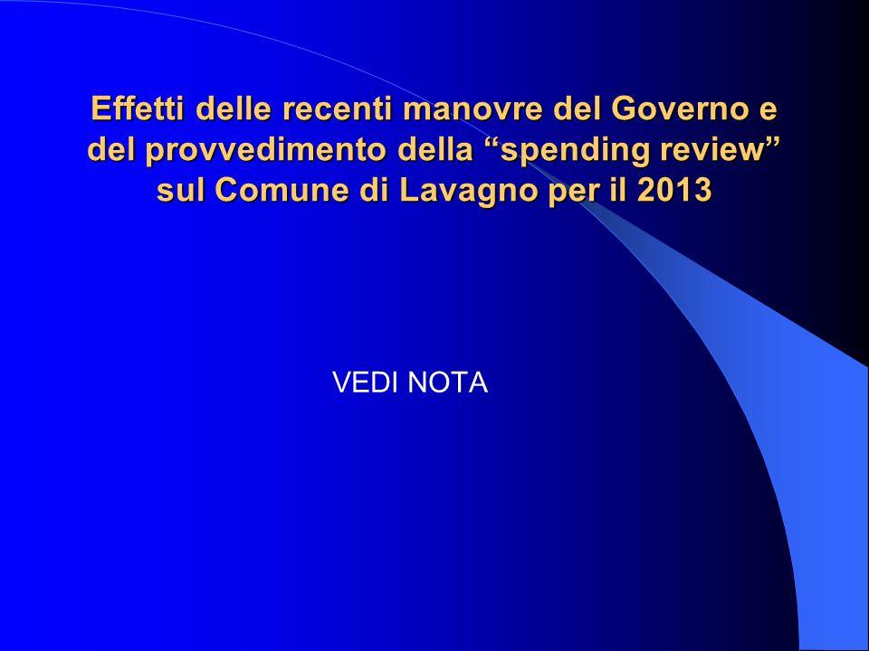 Effetti delle recenti manovre del Governo e del provvedimento della spending review sul Comune di Lavagno per il 2013 VEDI NOTA