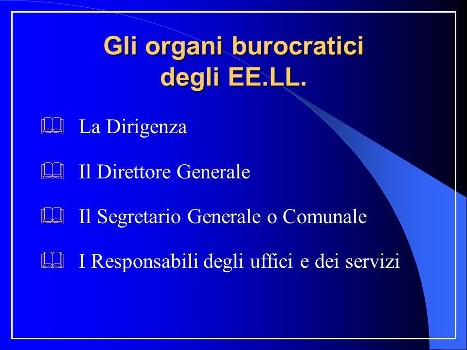 Gli organi burocratici degli EE.LL. La Dirigenza Il Direttore Generale Il Segretario Generale o Comunale I Responsabili degli uffici e dei servizi