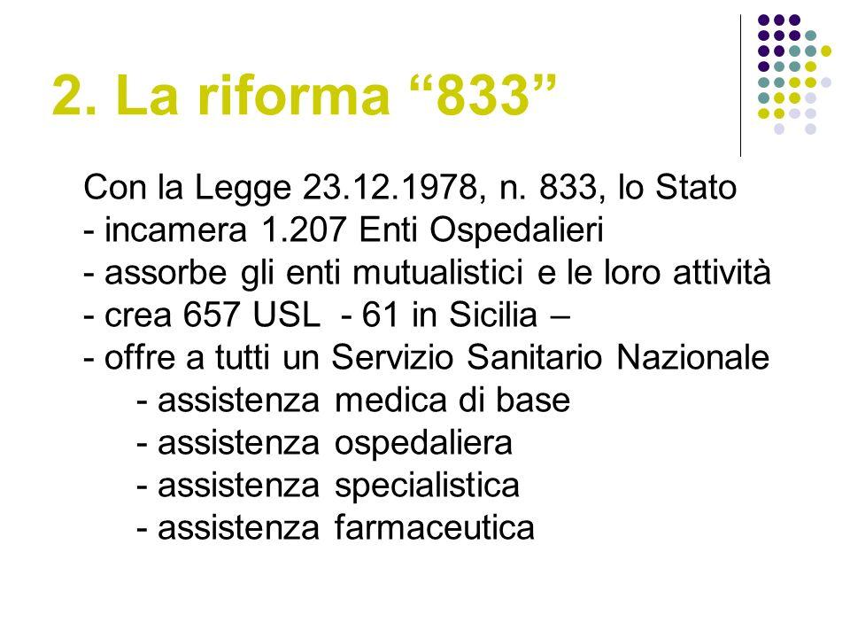 2.La riforma 833 Con la Legge 23.12.1978, n.