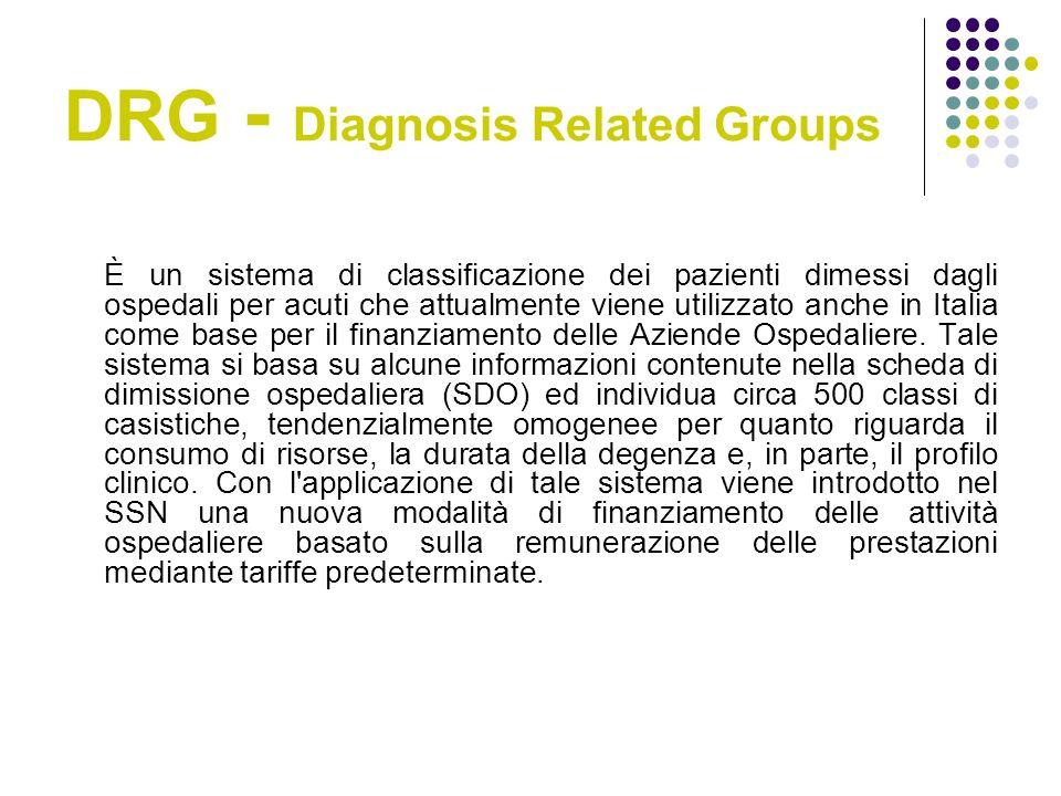 DRG - Diagnosis Related Groups È un sistema di classificazione dei pazienti dimessi dagli ospedali per acuti che attualmente viene utilizzato anche in Italia come base per il finanziamento delle Aziende Ospedaliere.