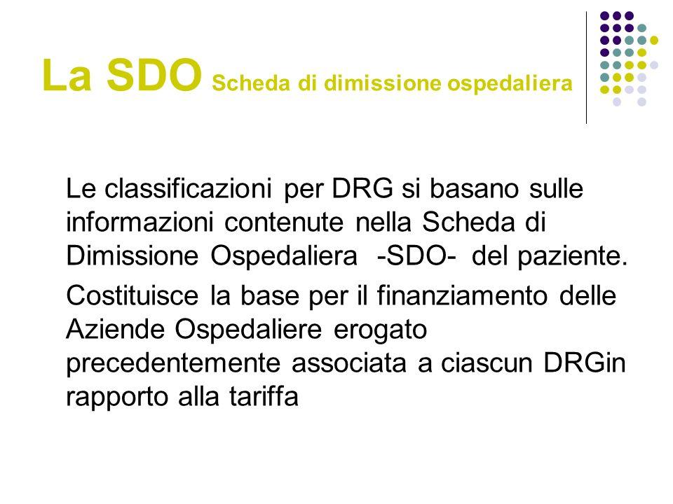 La SDO Scheda di dimissione ospedaliera Le classificazioni per DRG si basano sulle informazioni contenute nella Scheda di Dimissione Ospedaliera -SDO- del paziente.