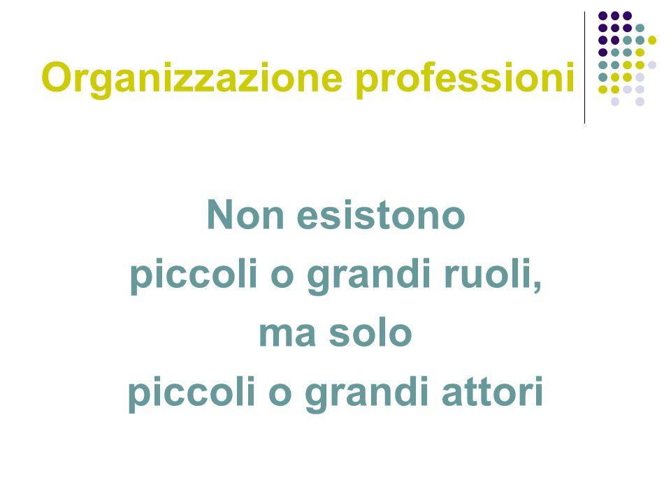 Organizzazione professioni Non esistono piccoli o grandi ruoli, ma solo piccoli o grandi attori