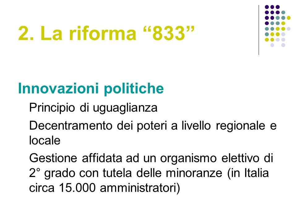 2. La riforma 833 Innovazioni politiche Principio di uguaglianza Decentramento dei poteri a livello regionale e locale Gestione affidata ad un organis