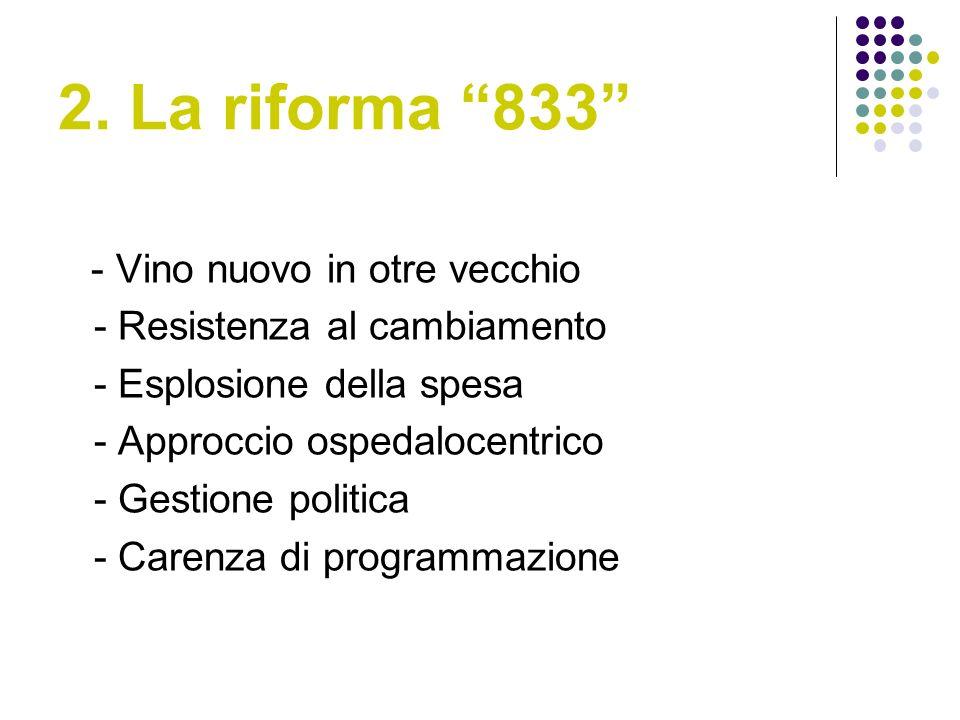 2. La riforma 833 - Vino nuovo in otre vecchio - Resistenza al cambiamento - Esplosione della spesa - Approccio ospedalocentrico - Gestione politica -