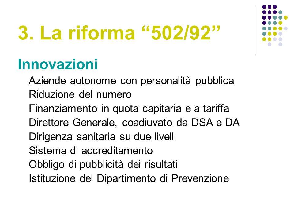 3. La riforma 502/92 Innovazioni Aziende autonome con personalità pubblica Riduzione del numero Finanziamento in quota capitaria e a tariffa Direttore