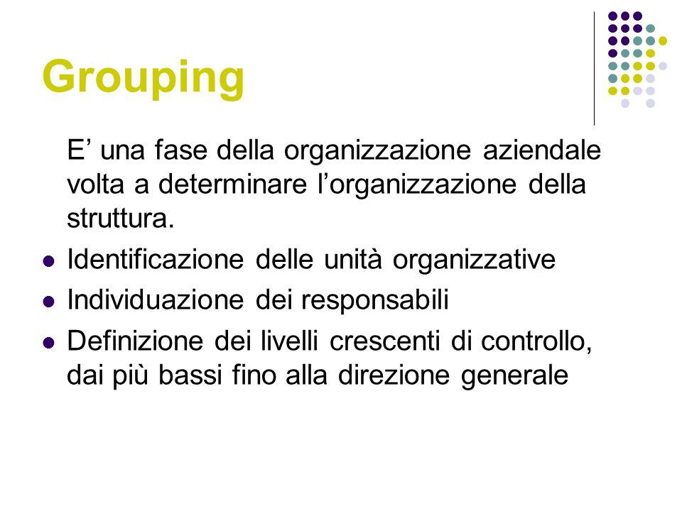 Grouping E una fase della organizzazione aziendale volta a determinare lorganizzazione della struttura.