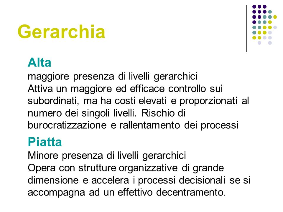 Gerarchia Alta maggiore presenza di livelli gerarchici Attiva un maggiore ed efficace controllo sui subordinati, ma ha costi elevati e proporzionati al numero dei singoli livelli.