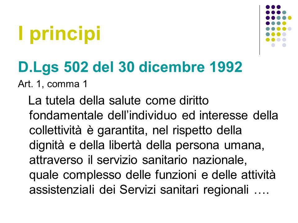 I principi D.Lgs 502 del 30 dicembre 1992 Art.