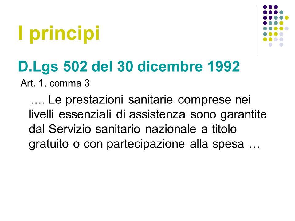 I principi D.Lgs 502 del 30 dicembre 1992 Art.1, comma 3 ….