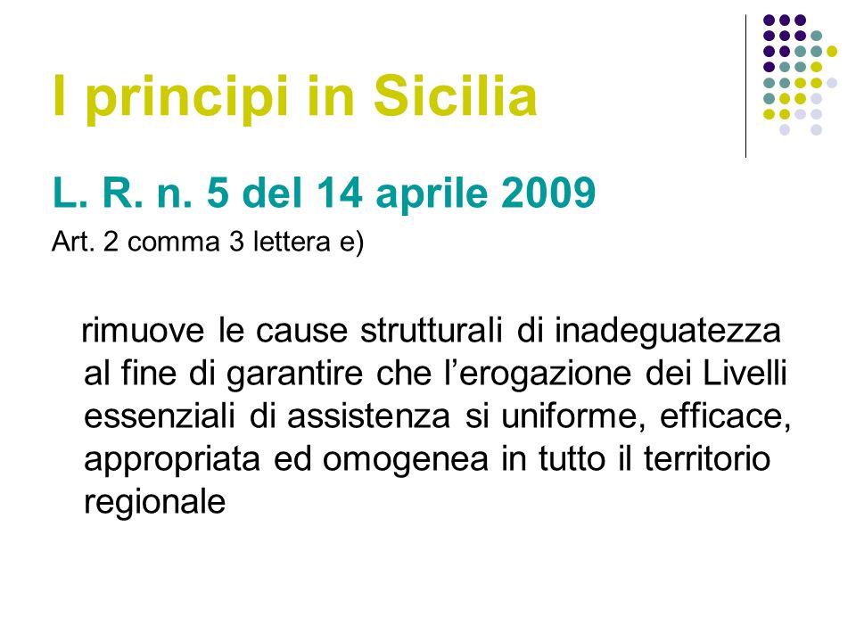 I principi in Sicilia L.R. n. 5 del 14 aprile 2009 Art.