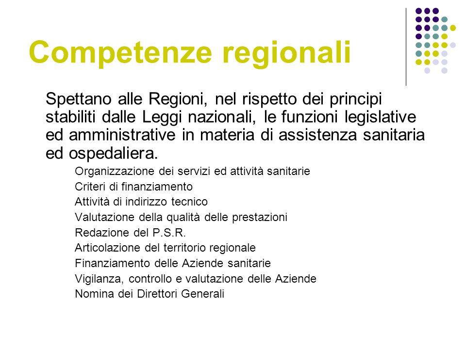 Competenze regionali Spettano alle Regioni, nel rispetto dei principi stabiliti dalle Leggi nazionali, le funzioni legislative ed amministrative in materia di assistenza sanitaria ed ospedaliera.