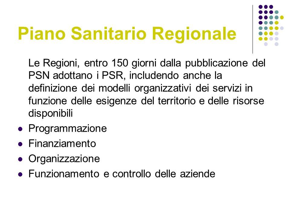 Piano Sanitario Regionale Le Regioni, entro 150 giorni dalla pubblicazione del PSN adottano i PSR, includendo anche la definizione dei modelli organizzativi dei servizi in funzione delle esigenze del territorio e delle risorse disponibili Programmazione Finanziamento Organizzazione Funzionamento e controllo delle aziende