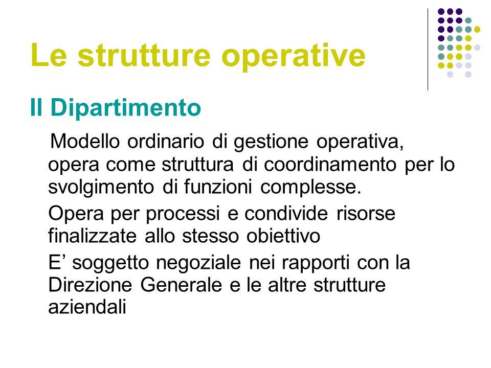 Le strutture operative Il Dipartimento Modello ordinario di gestione operativa, opera come struttura di coordinamento per lo svolgimento di funzioni complesse.