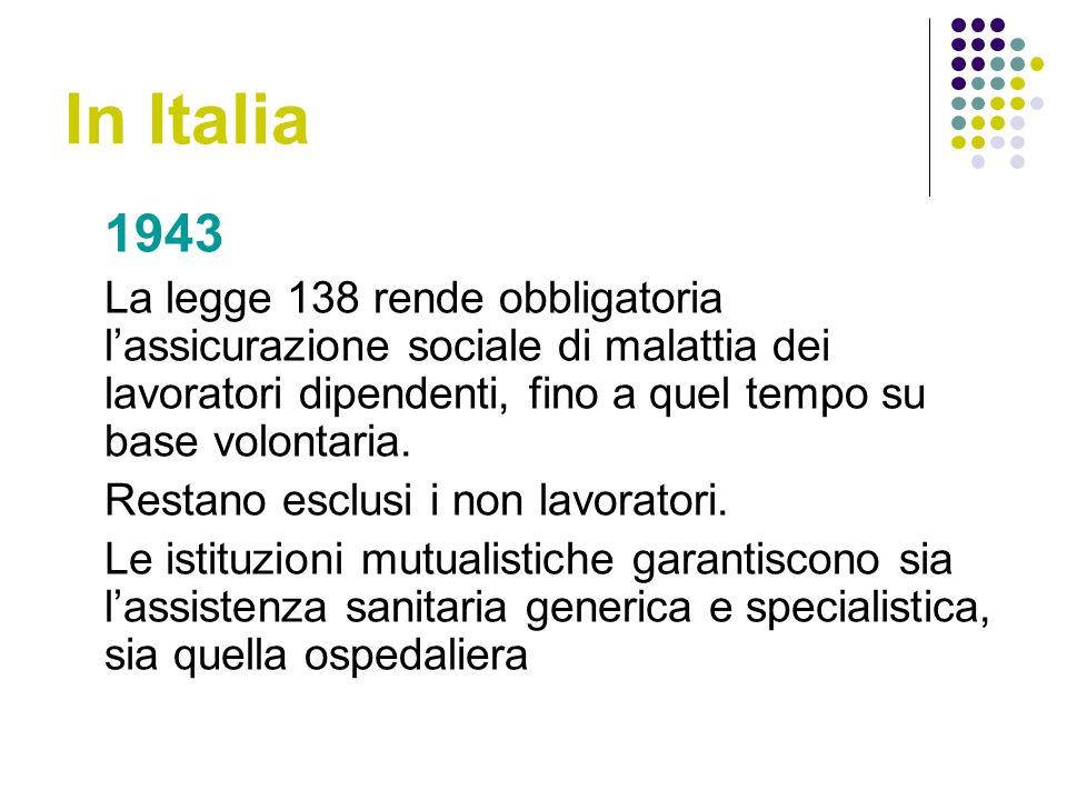In Italia 1943 La legge 138 rende obbligatoria lassicurazione sociale di malattia dei lavoratori dipendenti, fino a quel tempo su base volontaria.