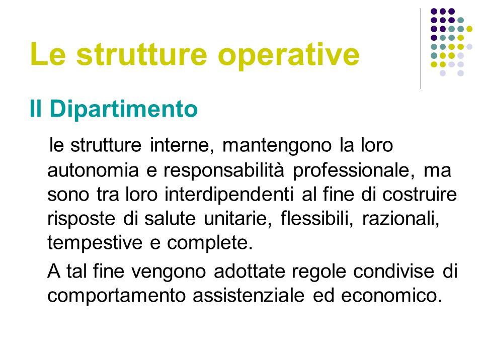 Le strutture operative Il Dipartimento le strutture interne, mantengono la loro autonomia e responsabilità professionale, ma sono tra loro interdipendenti al fine di costruire risposte di salute unitarie, flessibili, razionali, tempestive e complete.