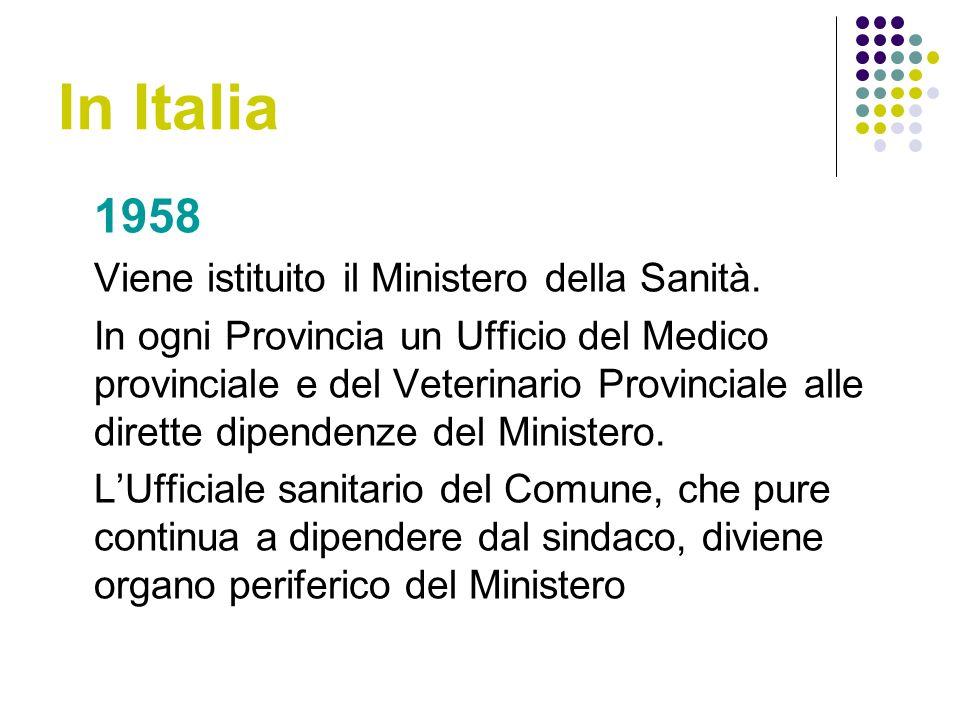 In Italia 1958 Viene istituito il Ministero della Sanità.