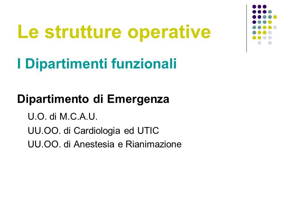 Le strutture operative I Dipartimenti funzionali Dipartimento di Emergenza U.O.