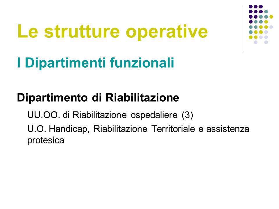 Le strutture operative I Dipartimenti funzionali Dipartimento di Riabilitazione UU.OO.