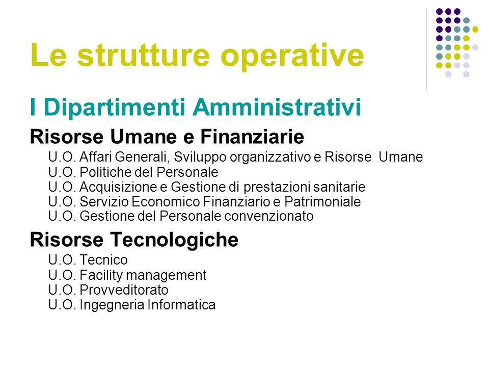 Le strutture operative I Dipartimenti Amministrativi Risorse Umane e Finanziarie U.O.