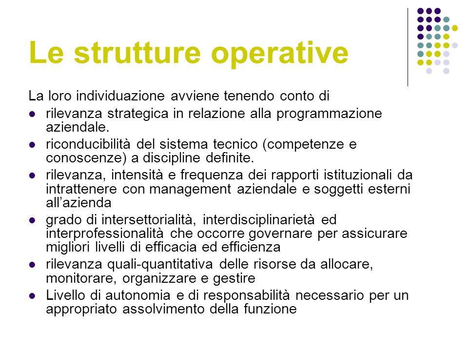 Le strutture operative La loro individuazione avviene tenendo conto di rilevanza strategica in relazione alla programmazione aziendale.