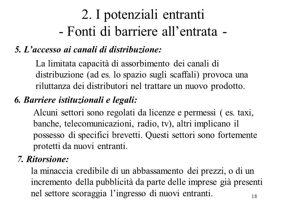 18 2. I potenziali entranti - Fonti di barriere allentrata - 5. Laccesso ai canali di distribuzione: La limitata capacità di assorbimento dei canali d