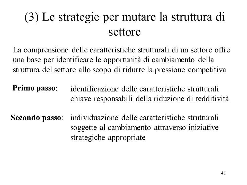 41 (3) Le strategie per mutare la struttura di settore Primo passo: identificazione delle caratteristiche strutturali chiave responsabili della riduzi