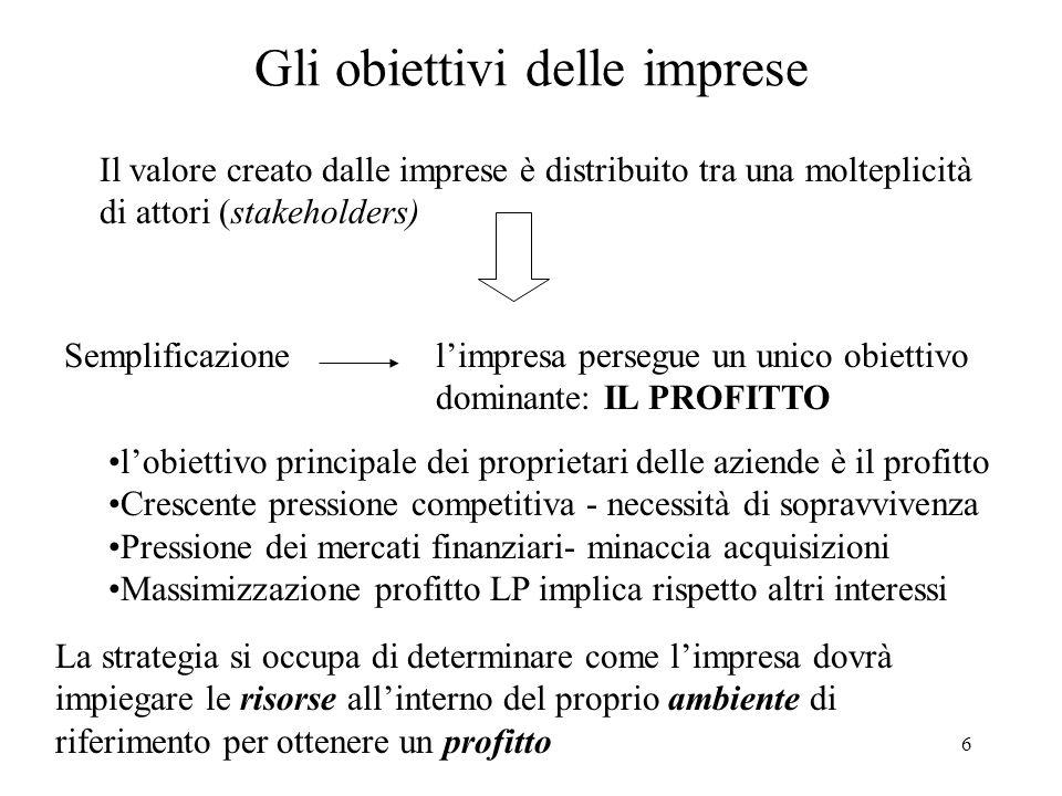 6 Gli obiettivi delle imprese Il valore creato dalle imprese è distribuito tra una molteplicità di attori (stakeholders) Semplificazionelimpresa perse
