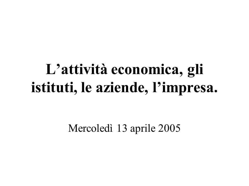 Lattività economica, gli istituti, le aziende, limpresa. Mercoledì 13 aprile 2005
