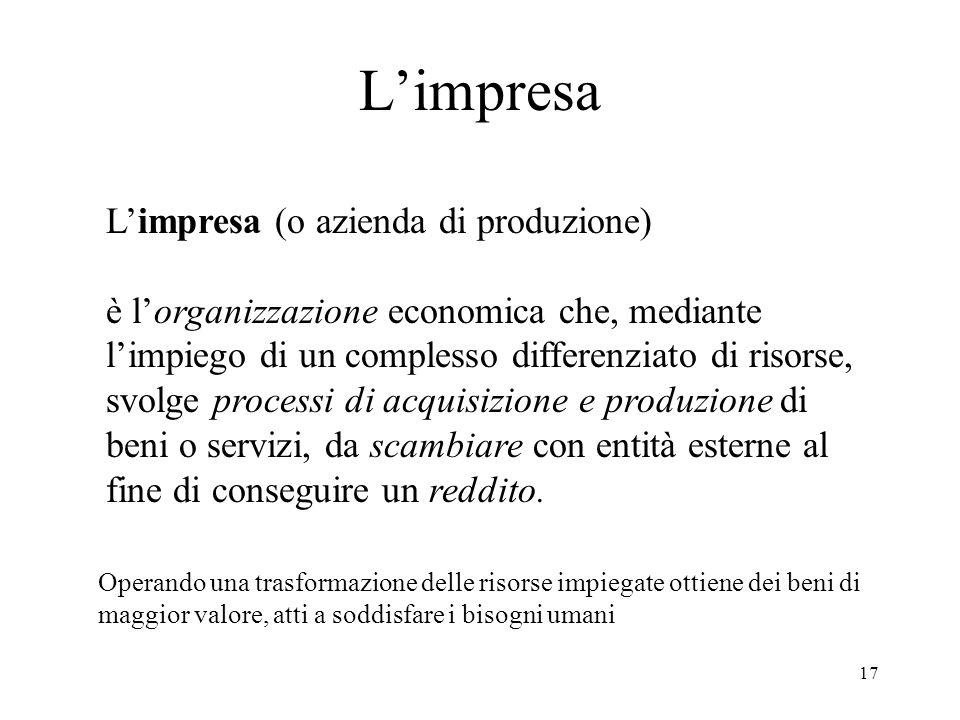 17 Limpresa Limpresa (o azienda di produzione) è lorganizzazione economica che, mediante limpiego di un complesso differenziato di risorse, svolge processi di acquisizione e produzione di beni o servizi, da scambiare con entità esterne al fine di conseguire un reddito.