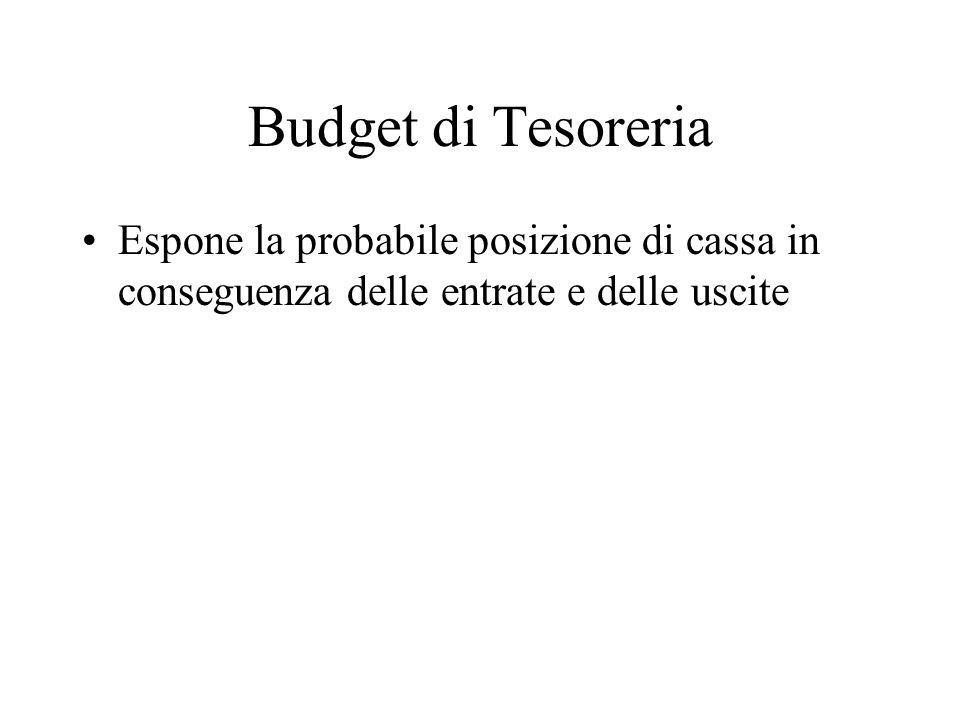 Budget di Tesoreria Espone la probabile posizione di cassa in conseguenza delle entrate e delle uscite