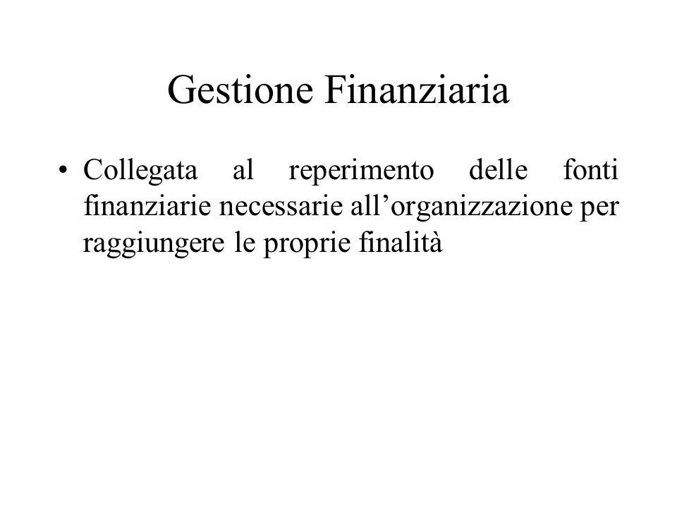Gestione Finanziaria Collegata al reperimento delle fonti finanziarie necessarie allorganizzazione per raggiungere le proprie finalità