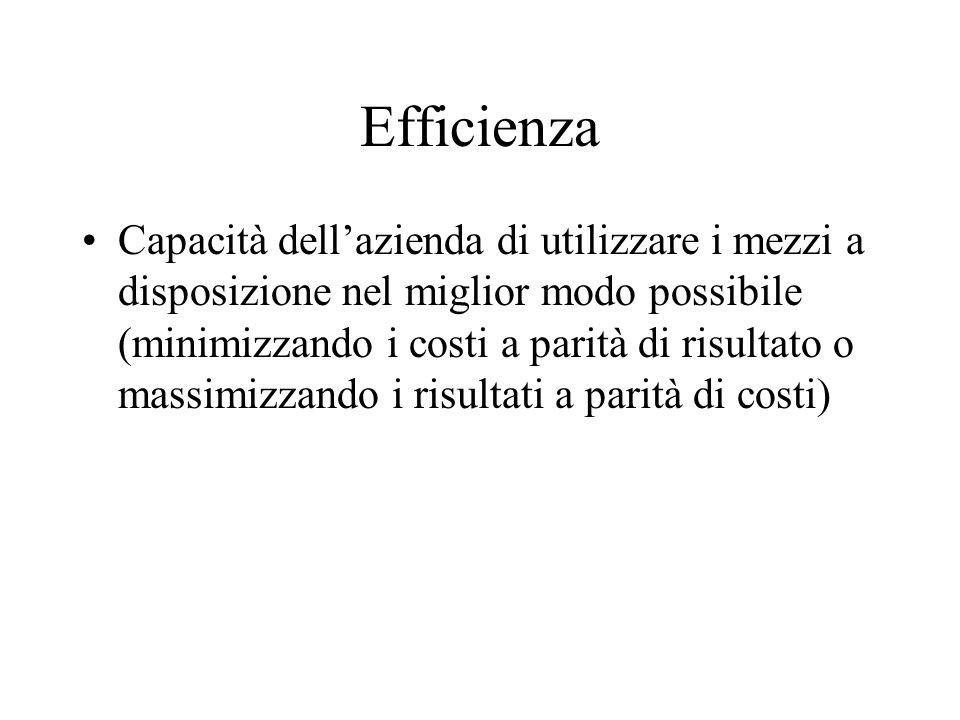 Efficienza Capacità dellazienda di utilizzare i mezzi a disposizione nel miglior modo possibile (minimizzando i costi a parità di risultato o massimizzando i risultati a parità di costi)