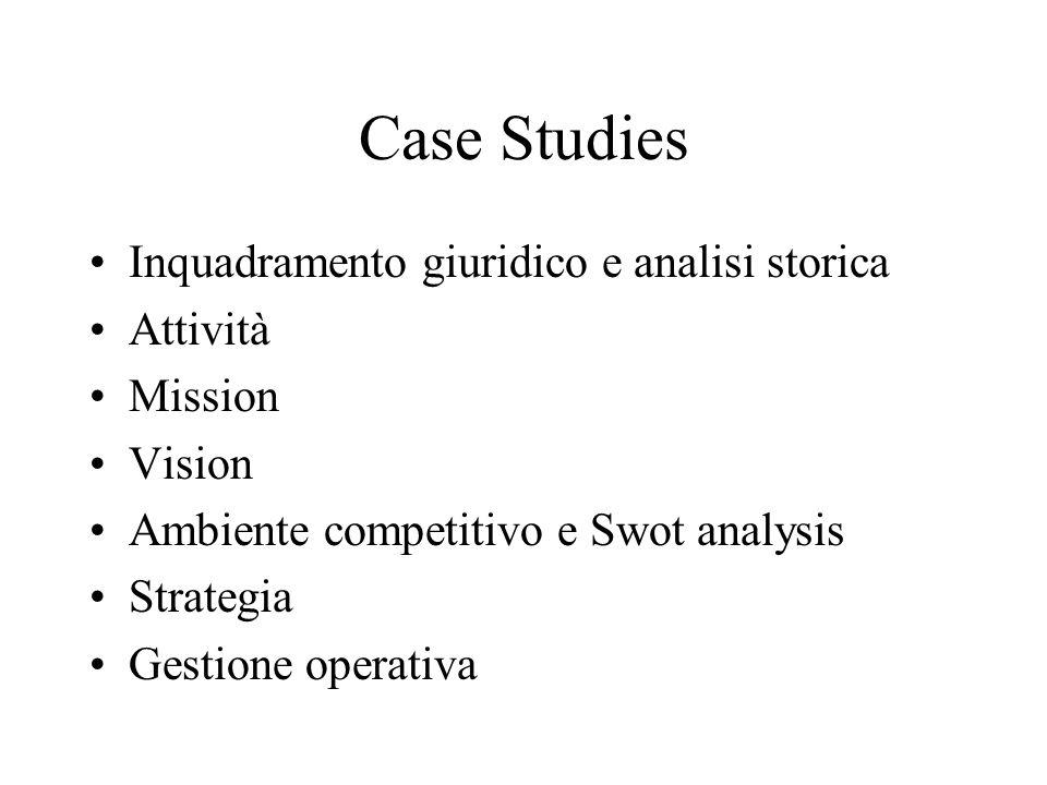 Case Studies Inquadramento giuridico e analisi storica Attività Mission Vision Ambiente competitivo e Swot analysis Strategia Gestione operativa