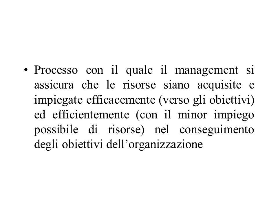 Processo con il quale il management si assicura che le risorse siano acquisite e impiegate efficacemente (verso gli obiettivi) ed efficientemente (con il minor impiego possibile di risorse) nel conseguimento degli obiettivi dellorganizzazione