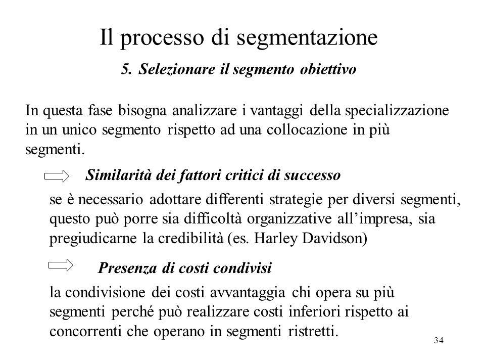 34 Il processo di segmentazione 5. Selezionare il segmento obiettivo In questa fase bisogna analizzare i vantaggi della specializzazione in un unico s