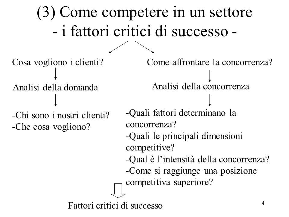 4 (3) Come competere in un settore - i fattori critici di successo - Cosa vogliono i clienti?Come affrontare la concorrenza? Analisi della domanda Ana