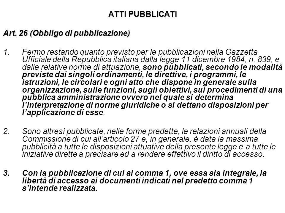 ATTI PUBBLICATI Art. 26 (Obbligo di pubblicazione) 1.Fermo restando quanto previsto per le pubblicazioni nella Gazzetta Ufficiale della Repubblica ita