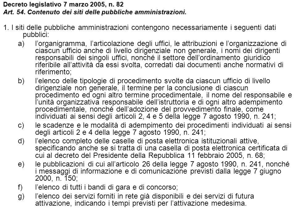 Decreto legislativo 7 marzo 2005, n. 82 Art. 54. Contenuto dei siti delle pubbliche amministrazioni. 1. I siti delle pubbliche amministrazioni conteng